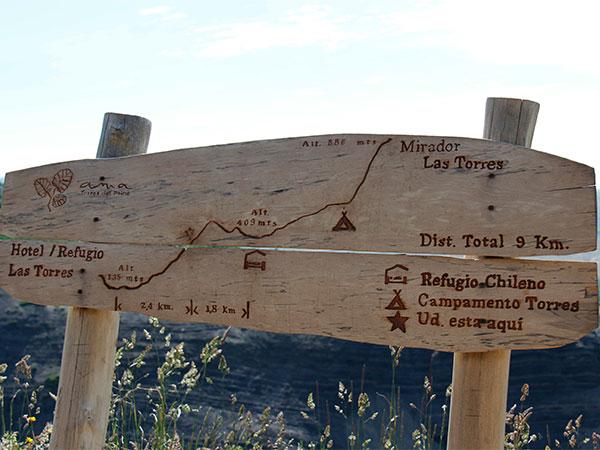 Placas como essa, ao longo do Circuito W, Torres del Paine, Chile são encontradas ao longo da trilha - Foto: Amandina Morbeck.