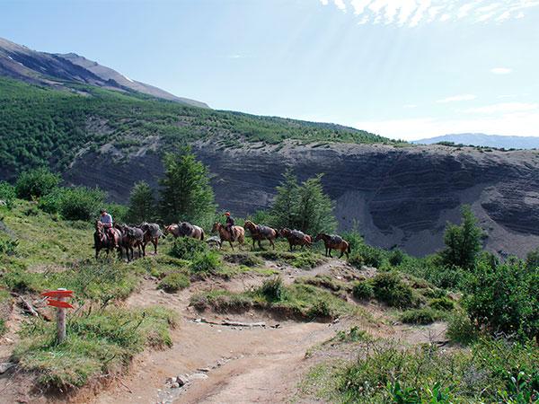O transporte de mantimentos para os refúgios El Chileno e Los Cuernos é feito com cavalos - Circuito W, Torres del Paine, Chile - Foto: Amandina Morbeck.