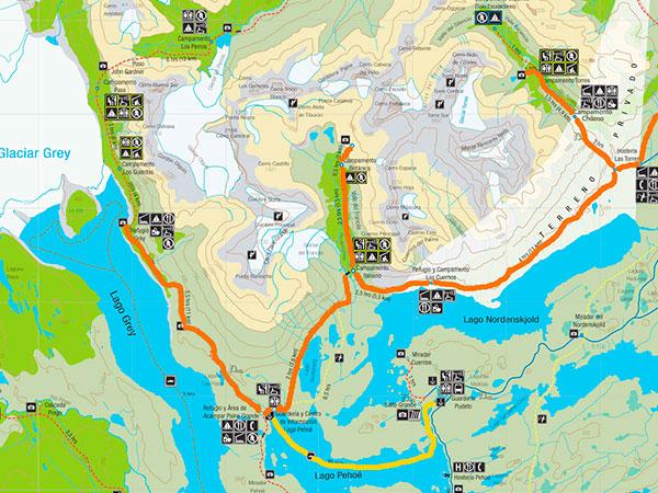 Mapa do parque com Circuito W, Torres del Paine, Chile, em destaque - Ilustração: CONAF.