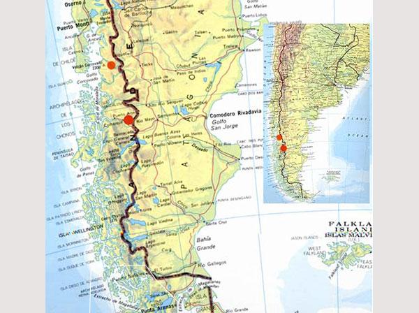 Mapa parcial do Chile para ilustrar o post Como organizei para fazer o trekking no Circuito W em Torres del Paine - Foto: Divulgação.