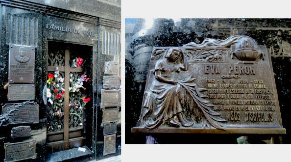 O corpo de Evita está enterrado no mausoléu dos Duarte; à direita, uma das placas em sua homenagem colocada na fachada - Cemitério da Recoleta, Buenos Aires, Argentina - Foto: Amandina Morbeck.