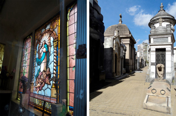 Vitral de uma das capelas e um pouco mais do Cemitério da Recoleta em Buenos Aires, Argentina - Fotos: Amandina Morbeck.