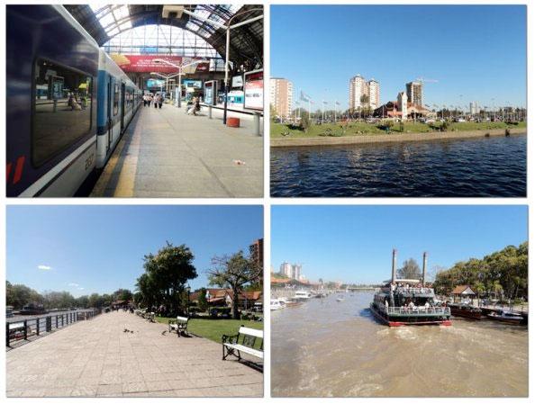 No sentido horário: estação Retiro, Buenos Aires; canal e ao fundo a estação de trem de Tigre; canal de entrada e de saída de barcos e passarela ao longo do canal em Tigre - Fotos: Amandina Morbeck.