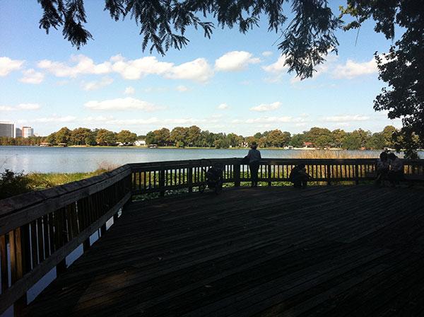Deck com linda vista pro Lago Rowena -Harry P. Leu Gardens em Orlando, Flórida- Foto: Amandina Morbeck.