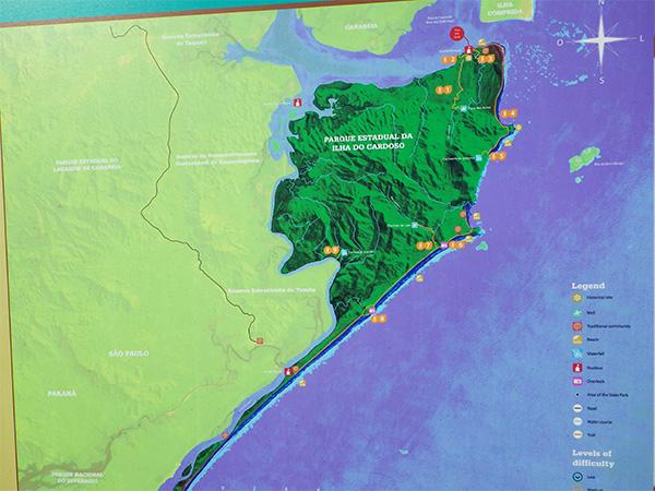 Mapa com detalhes sobre a Ilha do Cardoso - www.viajandocomaman.com.br.