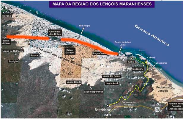 Mapa dos Lençóis Maranhenses com o trajeto que fizemos - Travessia dos Lençóis Maranhenses.