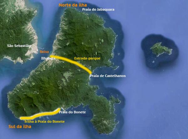 No mapa do Google Earth, coloquei algumas informações sobre Ilhabela.