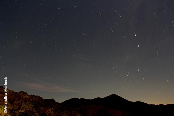 Céu estrelado visto da varanda do Refúgio Serra Fina - Foto: Amandina Morbeck.