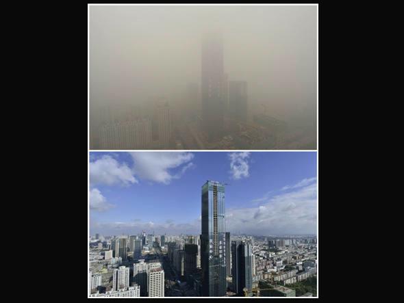 A diferença em Pequim: mergulhada no ar poluído e num dia limpo - China lança seguro antipoluição do ar para turistas - Foto: Reprodução/Reuters.
