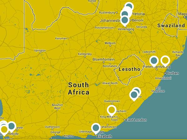 Mapa com pontos turísticos do roteiro Nelson Mandela.