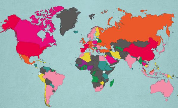 Post sobre os 10 países mais visitados do mundo - Mapa-mundi - Imagem: Reprodução/MoveHub.