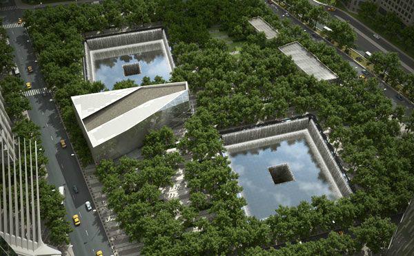 Vista aérea do Memorial no Marco Zero - Foto: National September 11 Memorial.