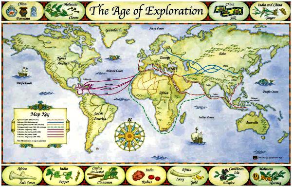Nesse mapa estilizado com rotas de exploração ao redor do mundo, a da Seda está em azul - Fonte: SilkRoadEncyclopedia.com.