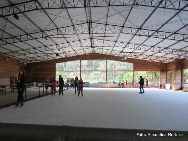 A pista de patinação no gelo também faz sucesso.