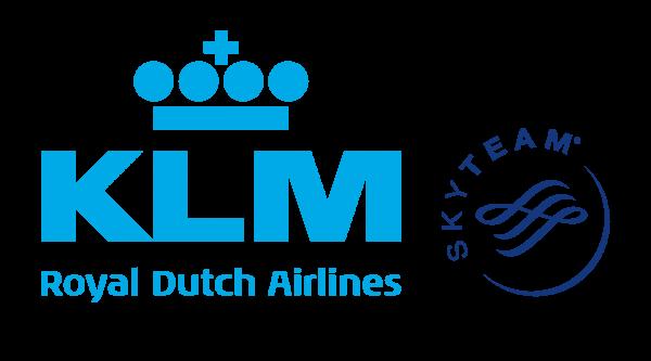 Logo da KLM - 70 anos da rota Amsterdã-New York.
